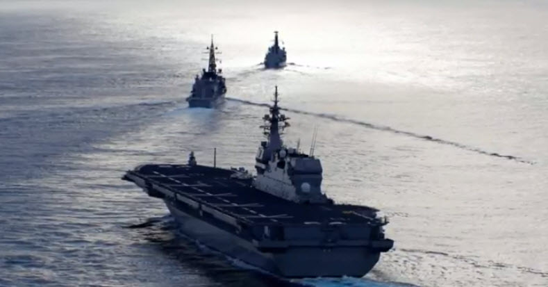 Japanese carrier drills with British warship