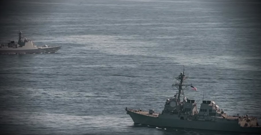 The Chinese destroyer swerved in front of the American ship