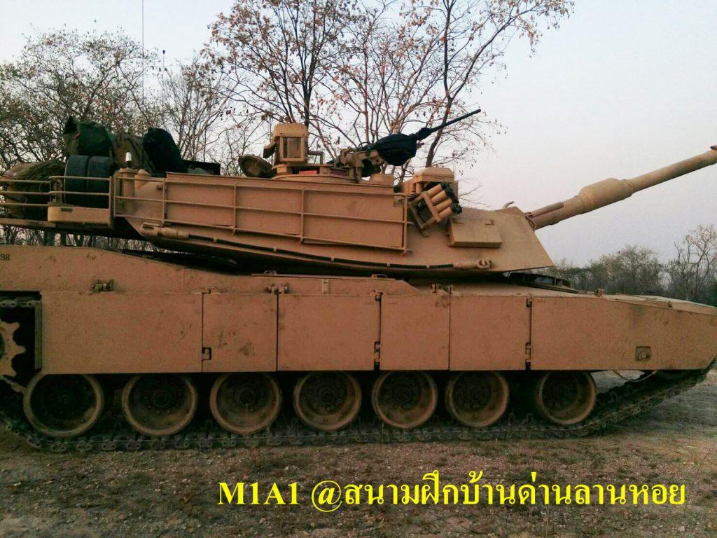 รถถังหลัก M1A1 สีทะเลทราย พรางตัวเข้ากับพื้นที่ สนามฝึกทางยุทธวิธี ทภ.3